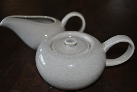 Russel Wright Gray American Modern Creamer and Sugar Bowl