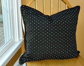"Reversible Colorful Polka Dot on Black Pillow Cover - 20 x 20 - 1/8"" Corded Trim- Zipper Closure"