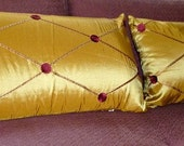 "25"" x 14"" Gold Rectangular Pillow Cover w/ Maroon Stitching and Medallions and Invisible Zipper"