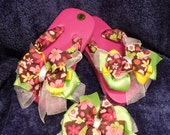 Pink, Brown, Green and Yellow Floral Toddler Flip Flops/Bow Set Size 5-6