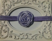 Lavender rolled satin rosette flower headband - Fits 12 months to 5T toddler