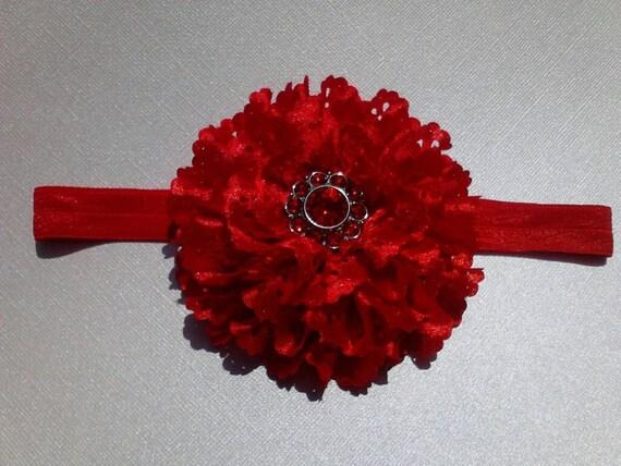 Red satin eyelet flower and red rhinestone - newborn, infant, toddler, child, teen