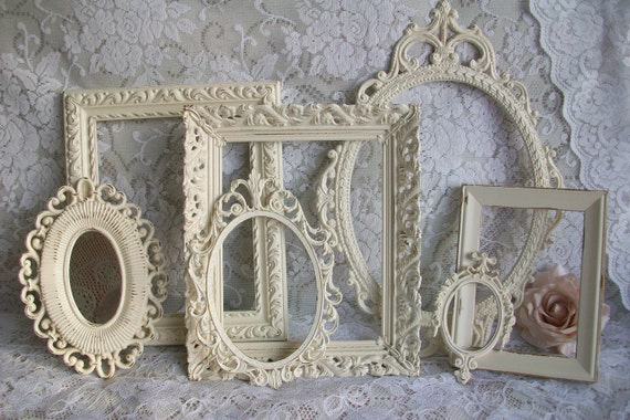 RESERVED- Creamy White Frames, Vintage Picture Frame Set, Ornate Frames, Cream White Frame Collection, Wall Gallery, Wedding Decor