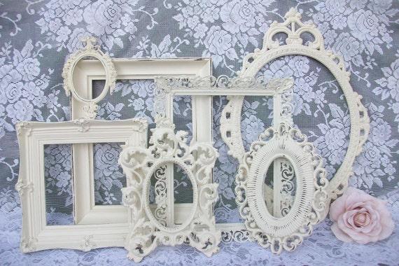 shabby chic frames white frames vintage picture frame set. Black Bedroom Furniture Sets. Home Design Ideas