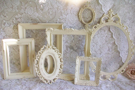 Shabby Chic Frames, Creamy White Frames, Vintage Picture Frame Set, Ornate Frames, Victorian Frame Collection, Wedding, Wall Gallery Decor