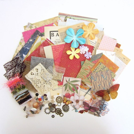 Mixed Media Destash Pack for Collage with Paper, Fiber, Fabric and Embellishments