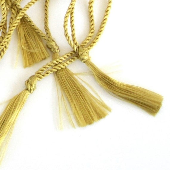 Small Tassels on Cords Gold for Bookmarks, Assemblage or Dollmaking Set of Ten