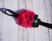 Polka Dot Hot Pink and Black Chiffon Flower Headband-Glitter elastic Headband