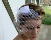 Vintage Inspired Spotted Birdcage veil with Handmade Satin Bow