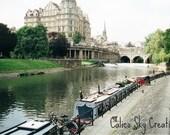 English Landscape, England photograph, English river photograph, river landscape, River Avon, blue, green - Bath, England, 8 x 12