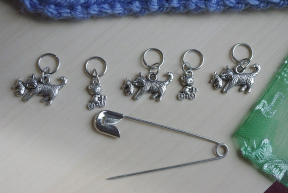 Knitting Stitch Markers - Cats and Kittens, silver colour, set of 5, knitting supplies