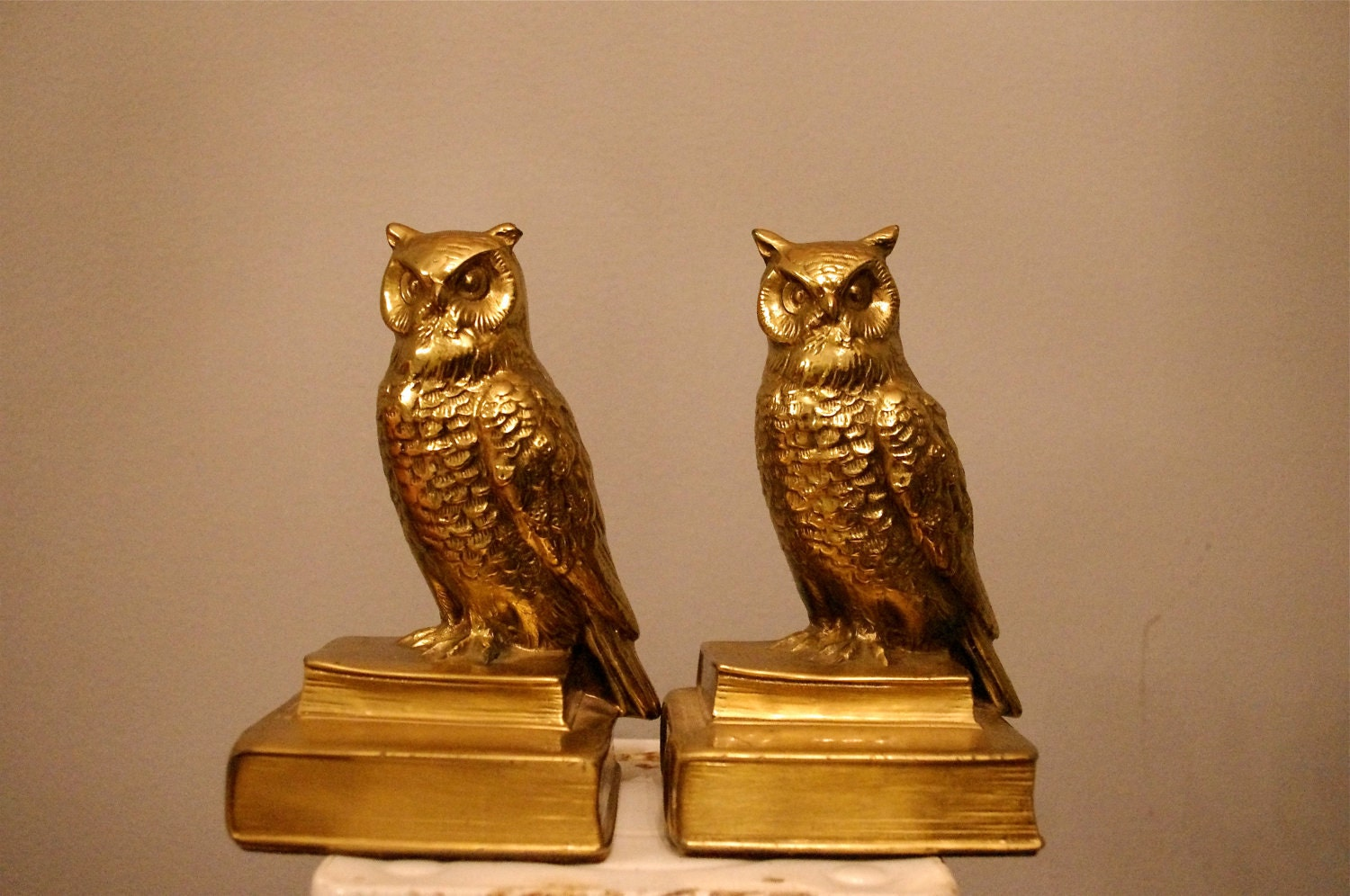 Vintage brass owl bookends by eviebdixon on etsy - Antique brass bookends ...