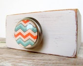 Chevron Zigzag Colorful Round Glass and Metal Knob