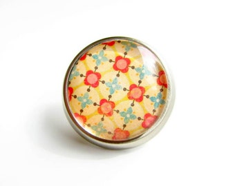 Red Mustard Blue Knob Round Glass Metal Pull