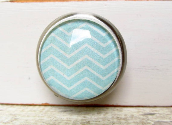 RESERVED for Kimberly-Blue Chevron Zigzag Round Glass and Metal Knob