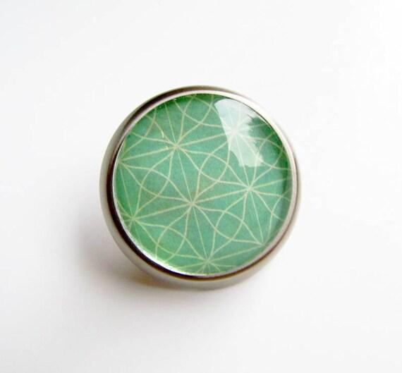 Mint Drawer Cabinet Knob Pull Glass Metal