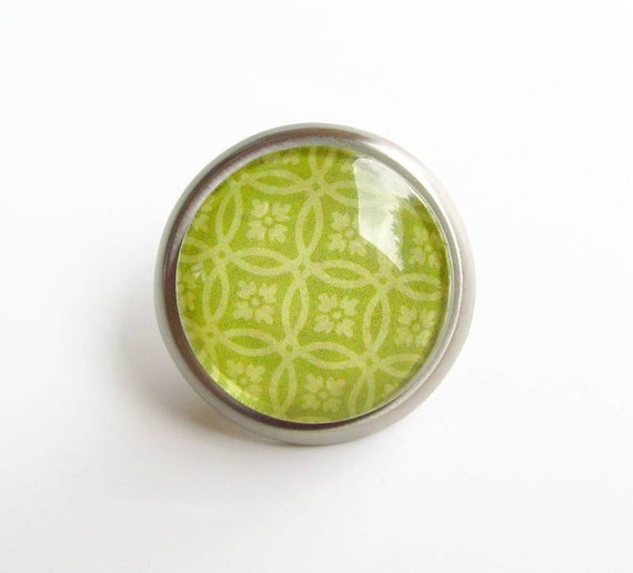 Lime Green Round Glass Metal Knob