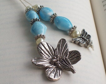 Beaded Bookmark with Butterfly and Flower Charms