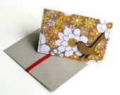 Recycled Paper and Vintage Retro Fabric woodland critters art card with Tallowwood Australian Willie Wagtail Bird