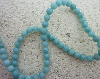 "6mm Blue Aquamarine Jade Round Gemstone Loose Bead - 15"" strand"