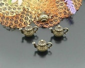 10 pcs 12X15mm Antique bronze brass 3D Teapots tea pots Cups charms pendants 1893a1r10