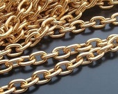 16ft (5m) 10x7mm large golden gold oval Jewelry cable Chains Links  69330a1a10