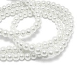 about 140 pcs 6mm Faux Pearl beads Pure white round Glass Ball Beads 9733ay39