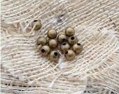 200 pcs 4mm Antique bronze Vintage Brass smooth round Ball Beads a3C13