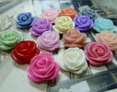 wholesale 50 pcs 10mm Mixed color Vintage Resin Rose Flowers Cameo Cabochon Pendant fd0438