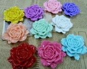 10 pcs 47x50mm Large Bright Mixed color Vintage Resin Rose Peony Flowers Cameos Cabochon cabs f5240
