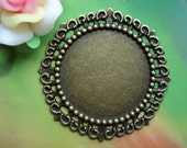 3 pcs 50mm Huge Antique Bronze Large lacy round Cameo Cabochon Base Settings inner 35mm a4r73-3352