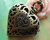 Antique Bronze Vintage Filigree Baroque Pattern Hollow Love Hearts Steampunk Pocket Watch Locket Pendants Necklaces FREE Ribbon