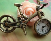Antique Bronze 3D Mountain Bicycles Bikes Pockets Watch Locket Pendants Necklaces with Chains FREE Ribbon