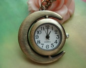 Antique Bronze moved Moons and Suns Pocket Watch Locket Pendants Necklaces with Chains FREE Ribbon