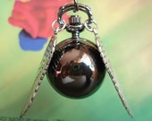 Steampunk Black Snitch Balls Pocket Watch locket Pendants Necklaces with Double Sided Silver angel Wings FREE Ribbon