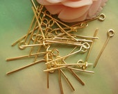 260 pcs 20mm Lots Of Antique Gold Golden Finished ring End Headpins needle 0493a02b1