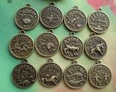 12 pcs 18x18mm Antique Bronze Vintage Twelve Zodiac Constellations Sets Round Charms Pendants f7580