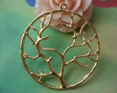 10 pcs 40mm Antique Gold Vintage Large Round Wire Tree Double Sided Charms Pendants g48210