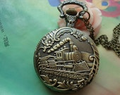 Large Antique Bronze Vintage Filigree Train With Flowers Edge Round Pocket Watch Locket Pendants Necklaces with Chains FREE Ribbon