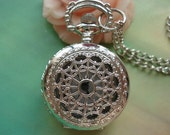 Small Silver White Steel Hollow Hearts Flowers Spiderweb Steampunk Round Pocket Watch Locket Pendants Necklaces