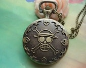 Medium Antique Bronze Vintage Filigree Pirates Skull Skeletons Crossbones Steampunk Round Pocket Watch Locket Pendants Necklaces FREE Ribbon