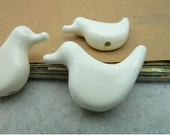 5 pcs 32x22mm White Cute Swans Ceramic Pottery Beaded Beads With Hole F3622