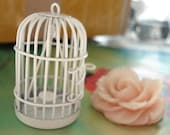 one pcs 56x30mm Large Brass Vintage White 3D Filigree Birdcages Bird Cages Inside With Support Charms Pendants
