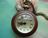 Dark Red Logs Woods Edges Transparent Round Crystal Balls Pocket Watch Locket Pendants Necklaces