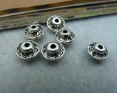 40 pcs 8.5x5mm Antique Silver Spacers Beaded Interval Beads Pendants fc3452