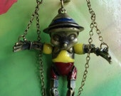 Antique Bronze Painted 3D pinocchio tridimensional Pendants Necklaces with Chains