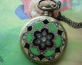 Large Antique Bronze Vintage Filigree Painted Green Black & Yellow Flowers with Diamond Jewel Round Pocket Watch Locket Pendants Necklaces