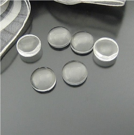 50 pcs 10mm Transparent Domed round Oblate Clear Glass Cabochon Cameo a2g12