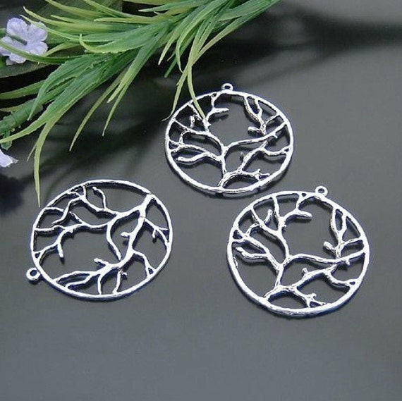 10 pcs 40mm Antique Silver Large Round Trees Flowers Charms Pendants G11740