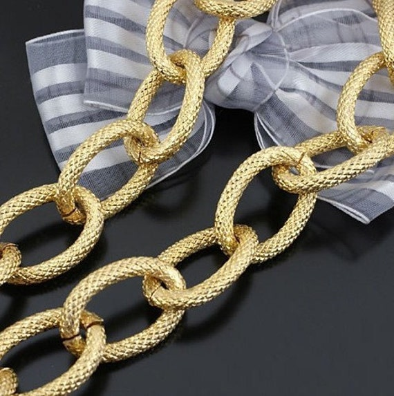3.2 ft (1m) 27x18mm heavy Large Gold Oval Pressing Points Thick cable Chains Links Bracelets Jewelry g29800